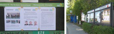 Ein neuer Infokasten von Grüne Heinersreuth steht an der Bushaltestelle